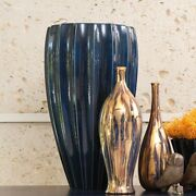 21 Tall Fluted Vase Jar Portuguese Ceramic Deep Blue Fluted Ribbed Texture