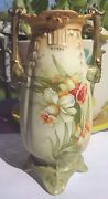 """Antique  POTTERY 8"""" VASE DAFFODIL FLOWERS"""