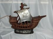 Vintage Table Lamp Spanish Galleon Sailing Ship Chalk-ware Early To Mid 1900's