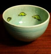 Vintage studio art pottery Tim Foss footed bowl hand decorated cars whimsy green