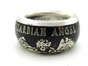 Pure Silver Guardian Angel Coin Ring Electroplated To Bring Out Detail