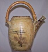 VINTAGE Studio Art Pottery Water Pot Pitcher Tea Ceremony Asian Style SIGNED