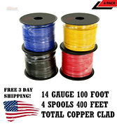 4 Rolls 14 Gauge 100 Ft Spools Copper Clad Remote Power Wire Cable Primary Auto