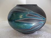 SIGNED VTG? Modern Contemporary Pottery Ceramic Drip Glaze Overlay Textured 2522