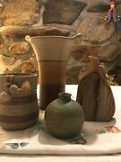 Lot of 4 local handmade pottery/ wood items