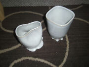 2 ART POTTERY Glazed Vases Bowls Gray Glaze, One marked Reese or Reece '05 Neat