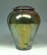 Fine Art Adult Raku Urn w/ Copper Luster Glaze by John Turner (220-230 cu in)