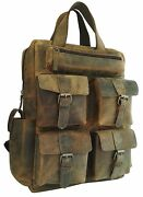 Menand039s Real Leather Backpack Laptop Bag Large Hiking Travel Camping Carry On New