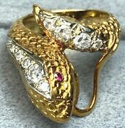 18k Yellow Gold Chunky Diamond Coiled Snake Serpent Ruby Vintage Climber Ring