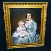 19c Canadian Folk Oil Painting Mother And Baby Attrib Robert Whale 1805-87 Sto