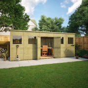 Pressure Treated Pent Garden Shed Central Doors Fast Delivery 15 Year Warranty