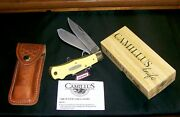 Camillus 716 Knife And Sheath Yello Jaket 4-7/16 Dual Locking W/packaging,papers