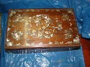 Antique Chinese Rosewood Inlaid Mother Of Pearl Sewing Box