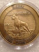 25 Pcs Coin Challenge 1 Ounce Round Antique Bronze Coated Brass Boxer Dog Animal