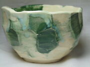 Vintage Hand Made Japanese Yunomi Art Pottery Facetted White Ware Tea Cup /Bowl