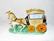 """Vintage Mini Made In Japan Ceramic 5"""" Horse and Carriage Figurine Bud Vase VGUC"""