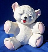 "Vintage California Pottery Ceramic Flocked Teddy Bear  8"" tall x 7"" Unsigned"