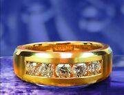 1.00 Ct Channel Set Diamond Mens Wedding Ring In 18k Yellow Gold New