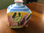 """Ceramic Floral Vase 4"""" tall X 3"""" wide - signed by """"Adams"""" - Pre-Owned"""