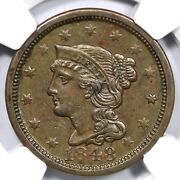 1848 N-37 R-4+ Ngc Ms 61 Bn Braided Hair Large Cent Coin 1c