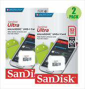 2 Pack Sandisk Ultra 32gb Micro Sdhc Uhs-i Micro Sd Tf Flash Memory Card Full Hd