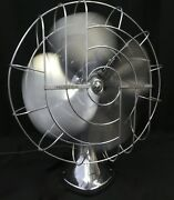 Vintage Chrome Hunter Zephair Oscillating Electric Fan 265 C-16.exc Working Cond