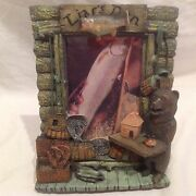 New-hunting-fly Fishing Cabin Picture Frame 4x 6 - 3d- Liars Den-brown Bear