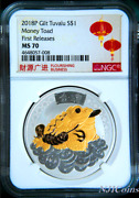 2018 Tuvalu Money Toad Silver Gilt W/ 24k Gold 1 1oz Coin Ngc Ms 70 Gilded