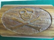 Pirate Skull And Crossbones Wood Carved Chest