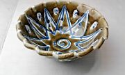 Handmade Pottery  Scolloped Edge Bowls Hand-Painted  Flowers