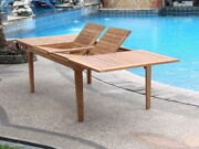 Grade-a Teak Wood Caranas 122 Rectangle Double Extension Dining Table Outdoor