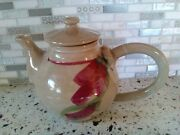 Studio Art Pottery 6 Cup Red Beige Floral Teapot -Signed