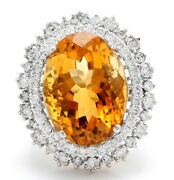 15.09 Carat Natural Madeira Citrine And Diamond In 14k Solid White Gold Ring