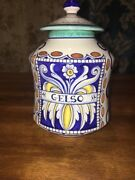 DERUTA Ribbon Hand Painted Art Pottery Ceramic Canister w/lid Italy See Descrip