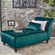 Teal Armless Velvet Chaise Lounge Chair Bench Bedroom Room Furniture Blue Green