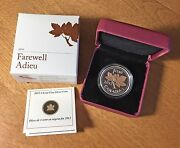 2012 1 Cent Farewell To Penny Silver Coin W/gold Plating Canada Box, Case And Coa