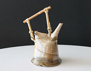 Studio Handcrafted Sculptural Ceramic,Bamboo&Leather Teapot Artist Signed