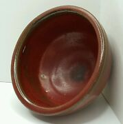 Studio Pottery Red & Brown Glazed Bowl Artist  Signed