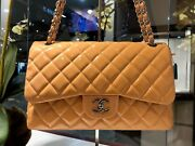 - Peach Orange Classic Quilted Jumbo Double Flap Patent Leather