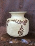 Vintage POTTERY CRAFT USA VASE. Stoneware. Beige with Brown Leaves. 6""
