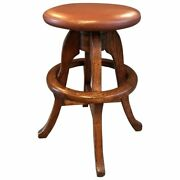 Solid Oak And Leather Workshop Drafting Stool