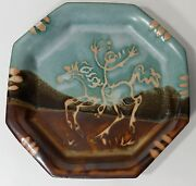 Suki Studio Art Pottery octogon Dish plate Country Girl on Horse Cowgirl signed