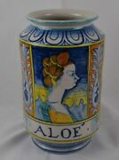 """Vase Faience French Italian Tall Vase Aloe' 9 3/4"""" Quimper Singed Mouteley ?"""