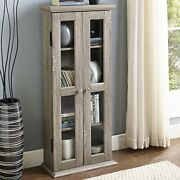 New Wood Media Storage Tower Cabinet Dvd Cd Games Books Shelves With Glass Doors