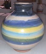 """Vintage 1971 Pacific Stoneware Blue Swirl Pottery Vase Signed B. Welsh 6 Is Aw"""""""
