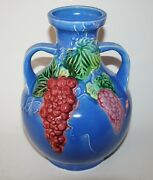 Large Awaji Japan Art Pottery Vase with Applied Grape Designs. Signed.