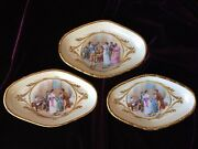 3 HAND PAINTED FRANCE ANDRE' SIGNED PORCELAIN PIN TRAYS