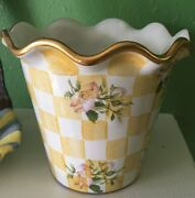 Mackenzie Childs Pottery Honeymoon Large Fluted Pot / Planter Long Retired