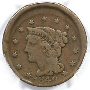 1849 Pcgs F 12 Off Center Braided Hair Large Cent Coin 1c