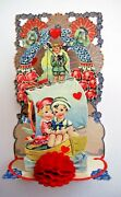 Large Victorian Valentine Card W/ Adorable Couple In Boat Die Cut Scraps